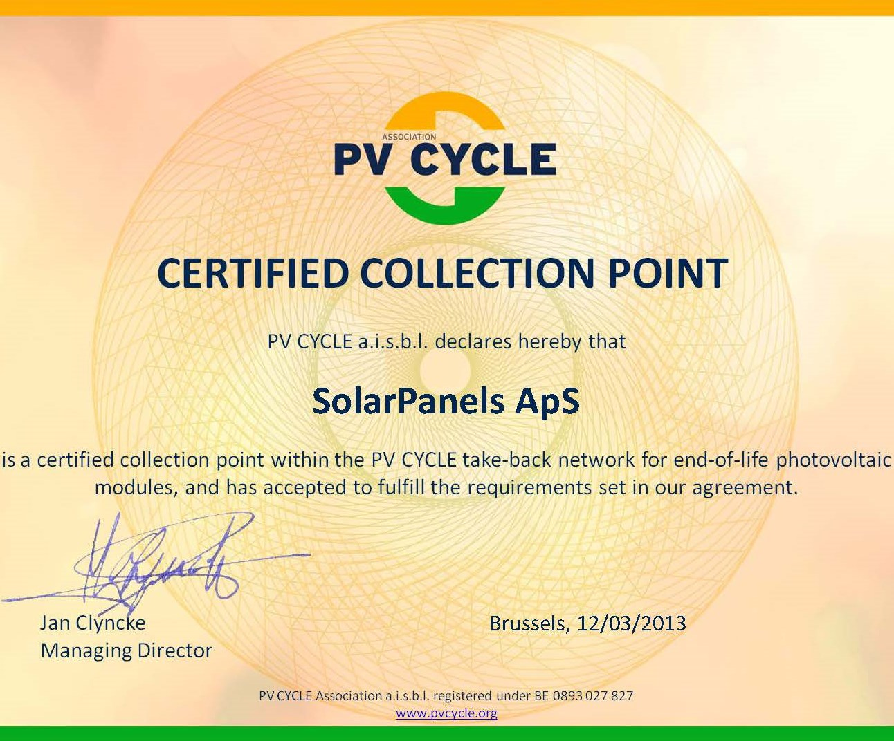 PV Cycle certificering - SolarPanels ApS